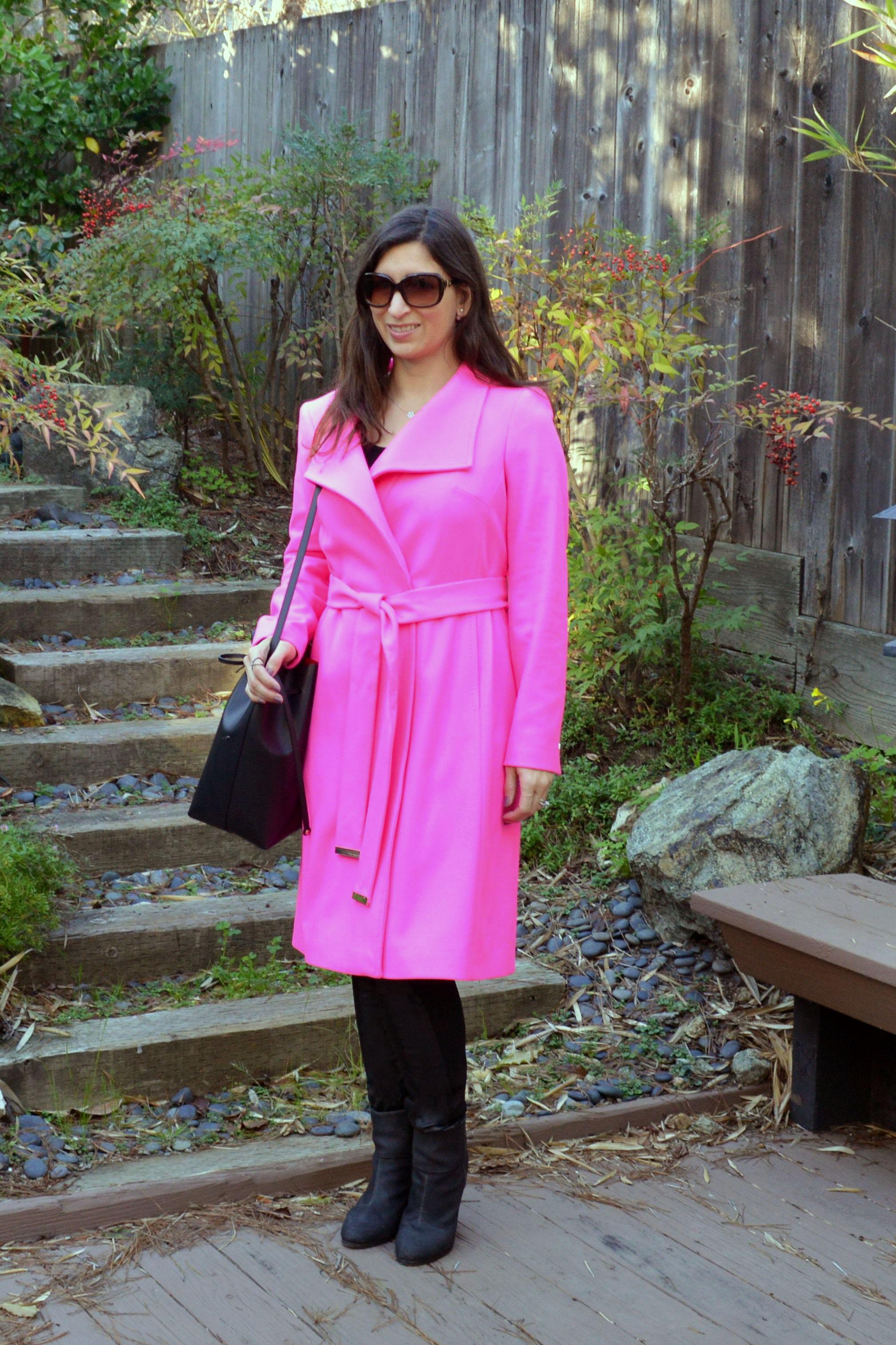 99c928d80d77 pink coat · ted baket pink coat · mansur gavriel bucket handbag ...