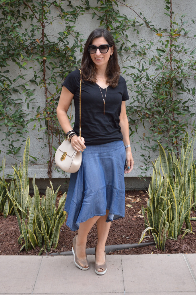 anthropologie skirt oufit styled spring