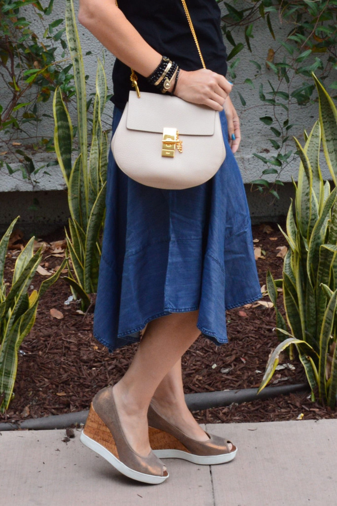 anthropologie style blogger skirt outfit