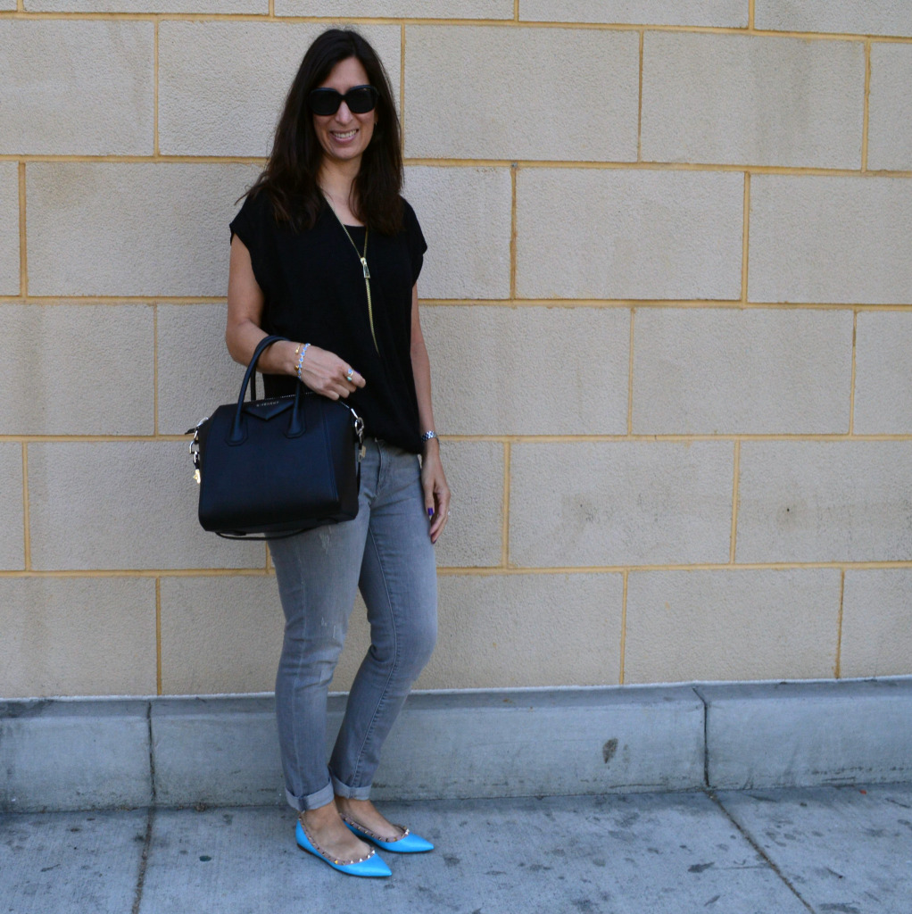 valentino rockstuds flats casual outfit idea