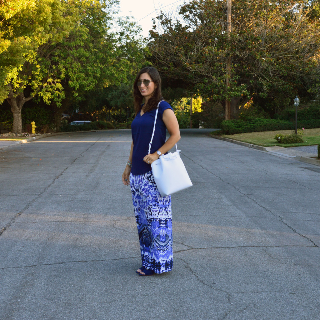 blue and white summer outfit