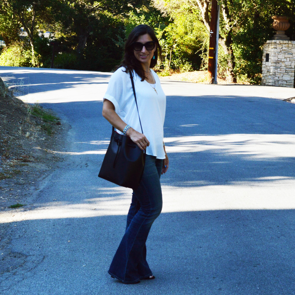 flare jeans summer outfit idea