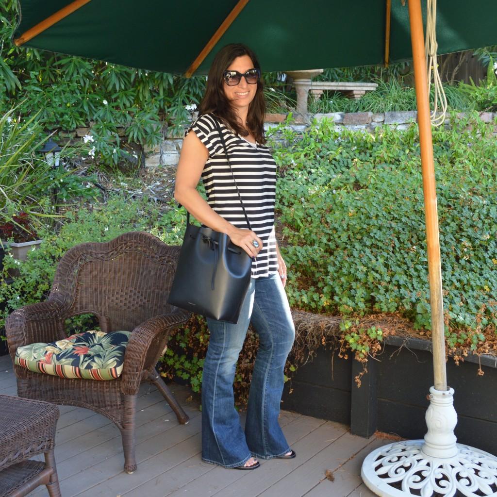 petite flare jeans paige denim outfit idea