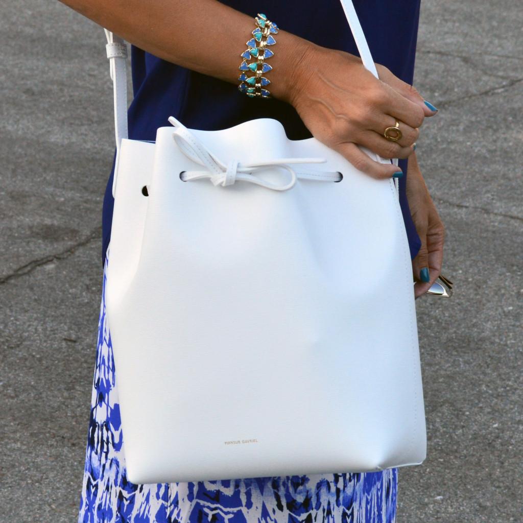 saffiano mansur gavriel drawstring bag style blogger outfit idea