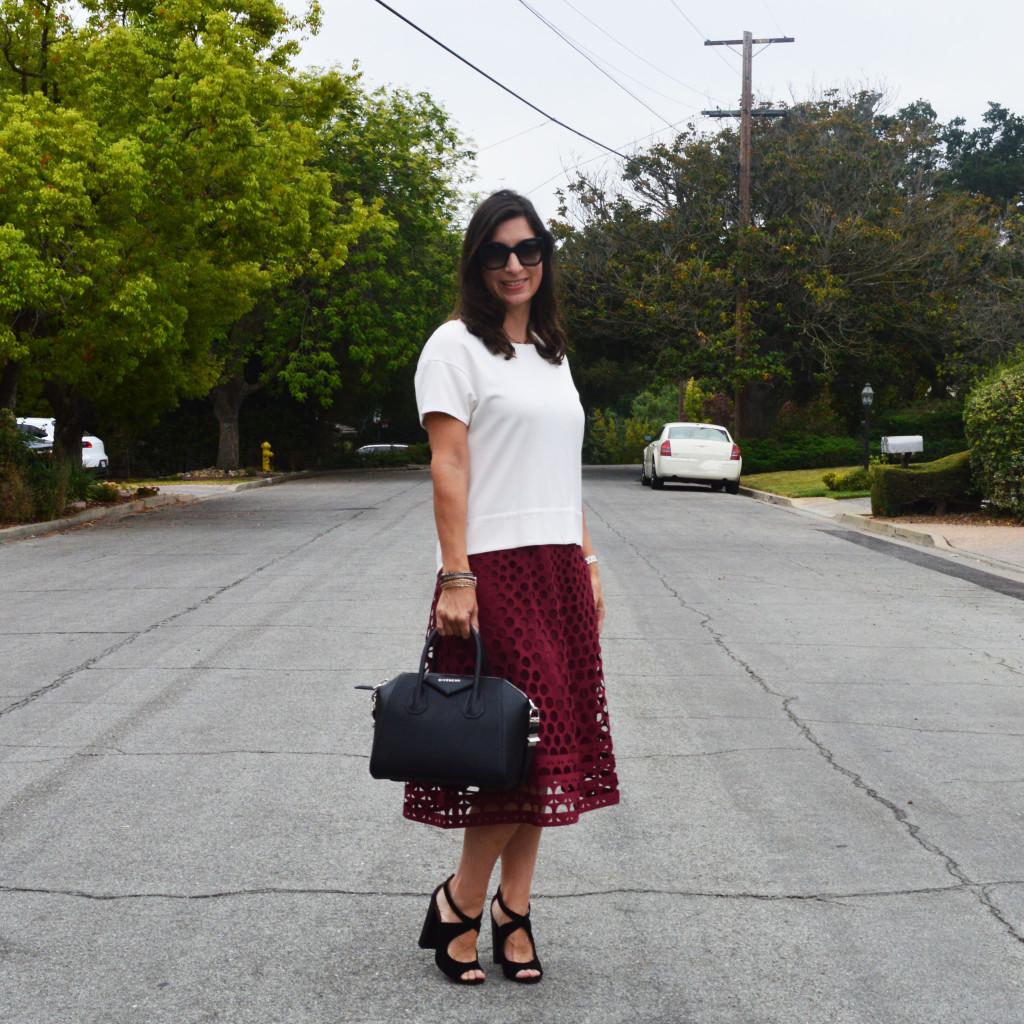 fall 2015 midi skirt outfit idea