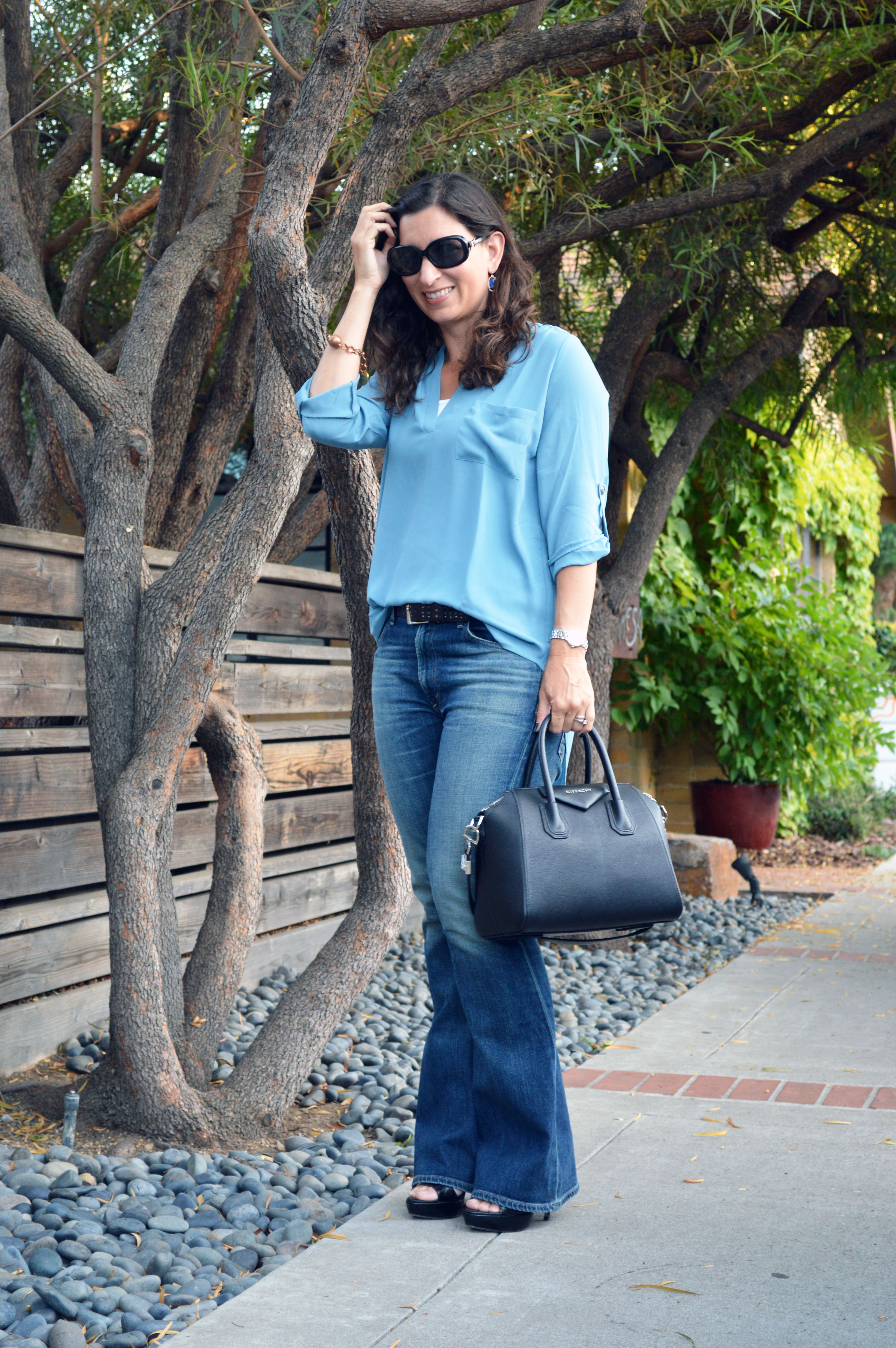 late summer flare denim outfit � bay area fashionista