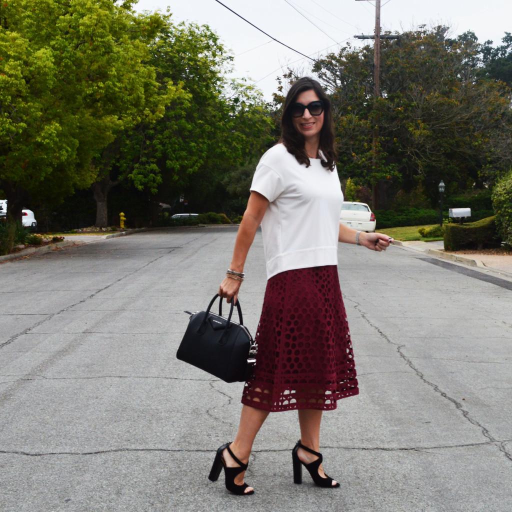 burgandy laser cut midi skirt outfit idea for fall