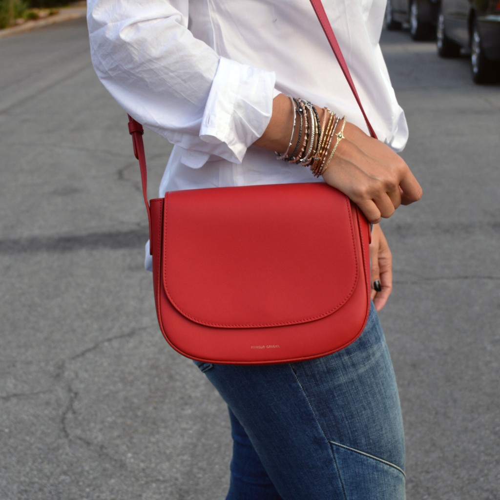 mansur gavriel shoulder bag in red