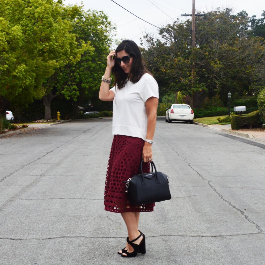 genx style fashion midi skirt outfit idea