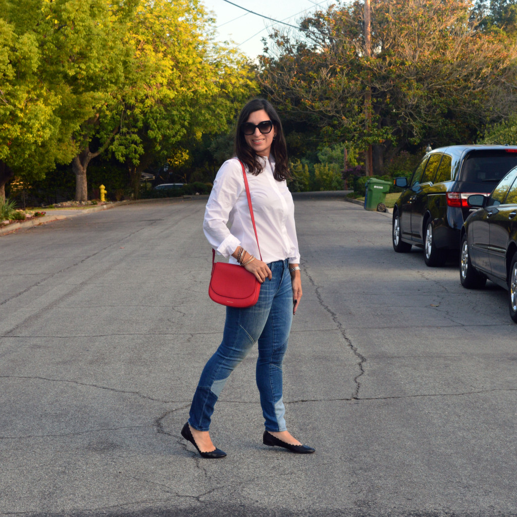 Patchwork jeans outfit for fall