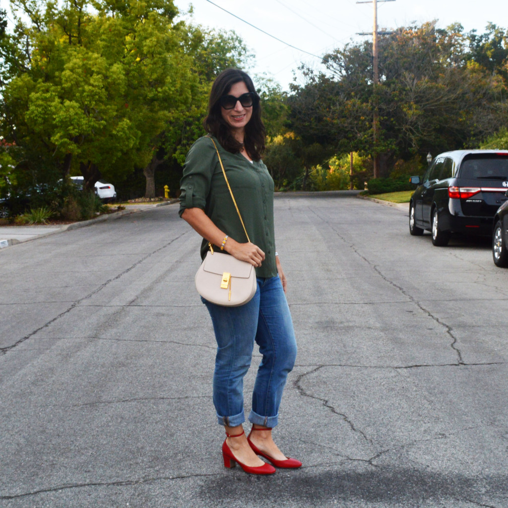 casual fall outfit with a lotus leap bracelet