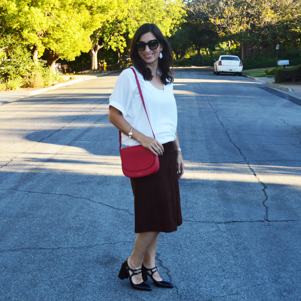 suede skirt outfit style blogger