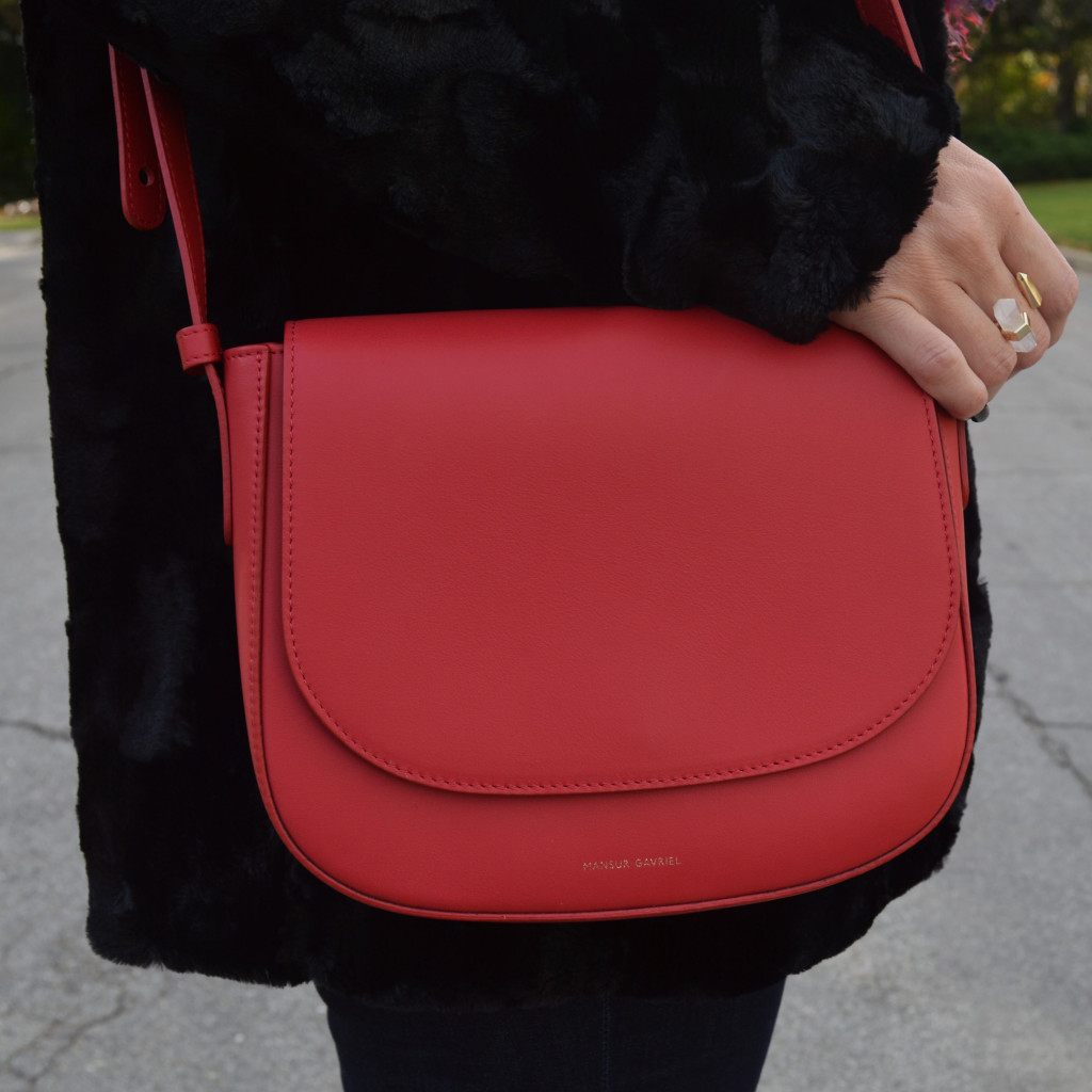 mansur gavriel cross body bag in red
