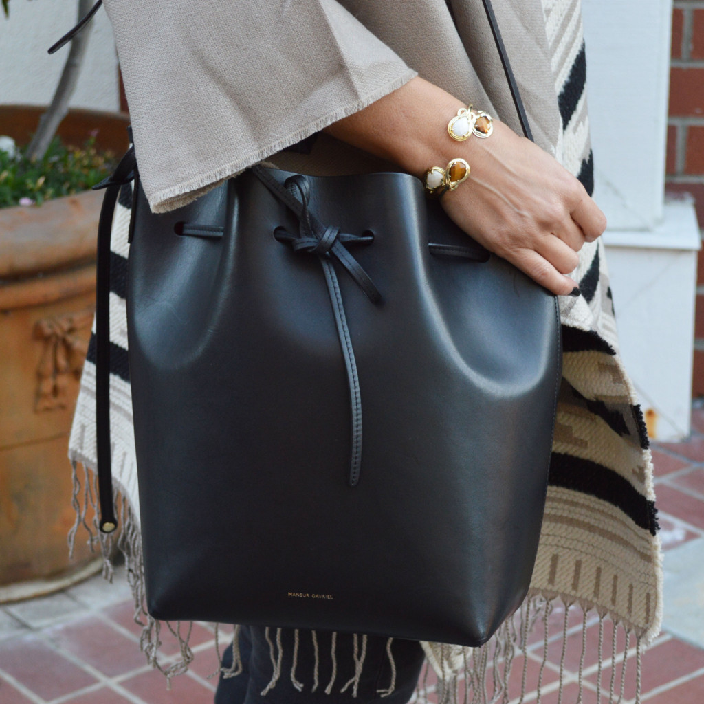 mansur gavriel large bucket bag black flamma in stock