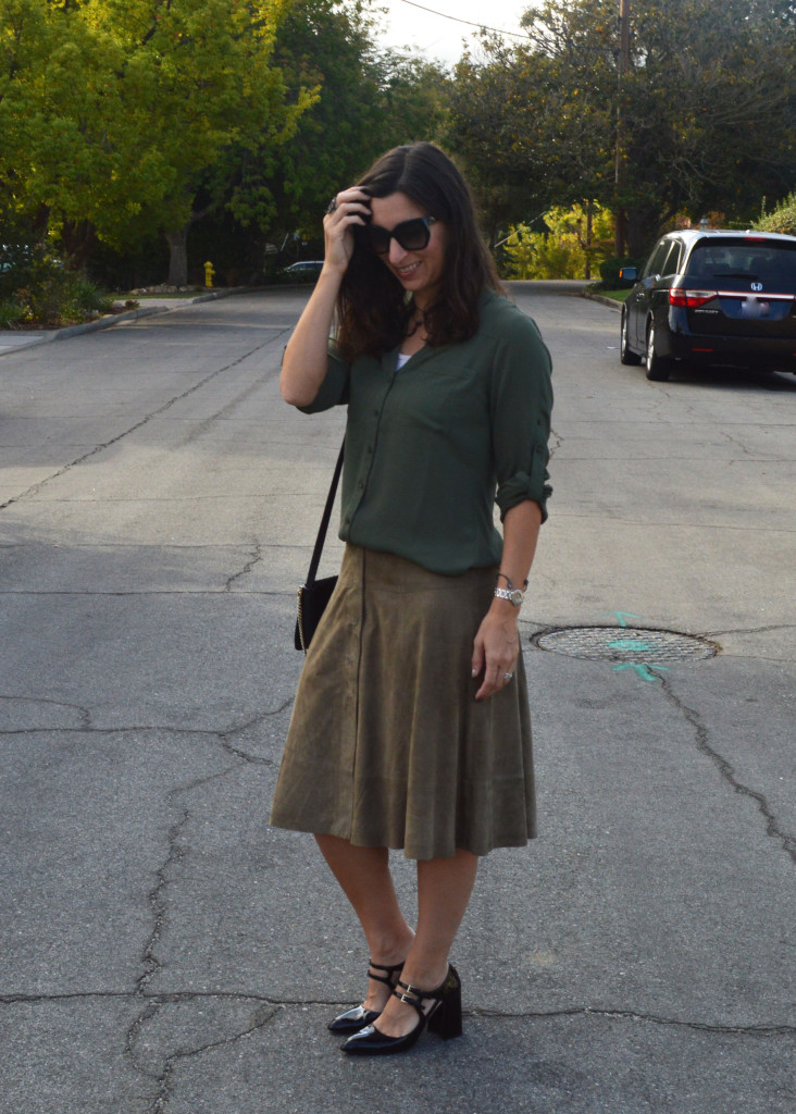 suede joie skirt for fall winter outfit idea