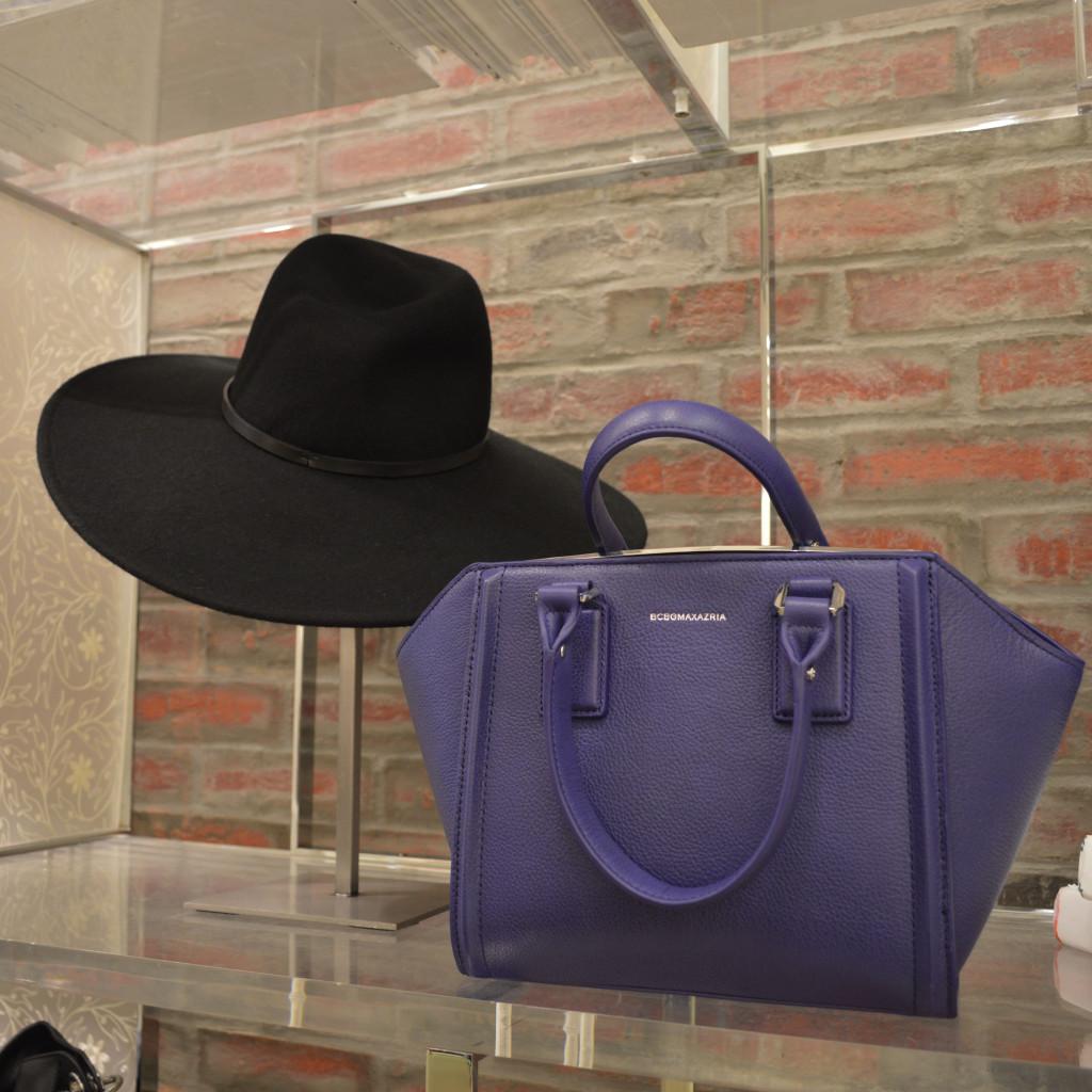 bcbg hat and handbag