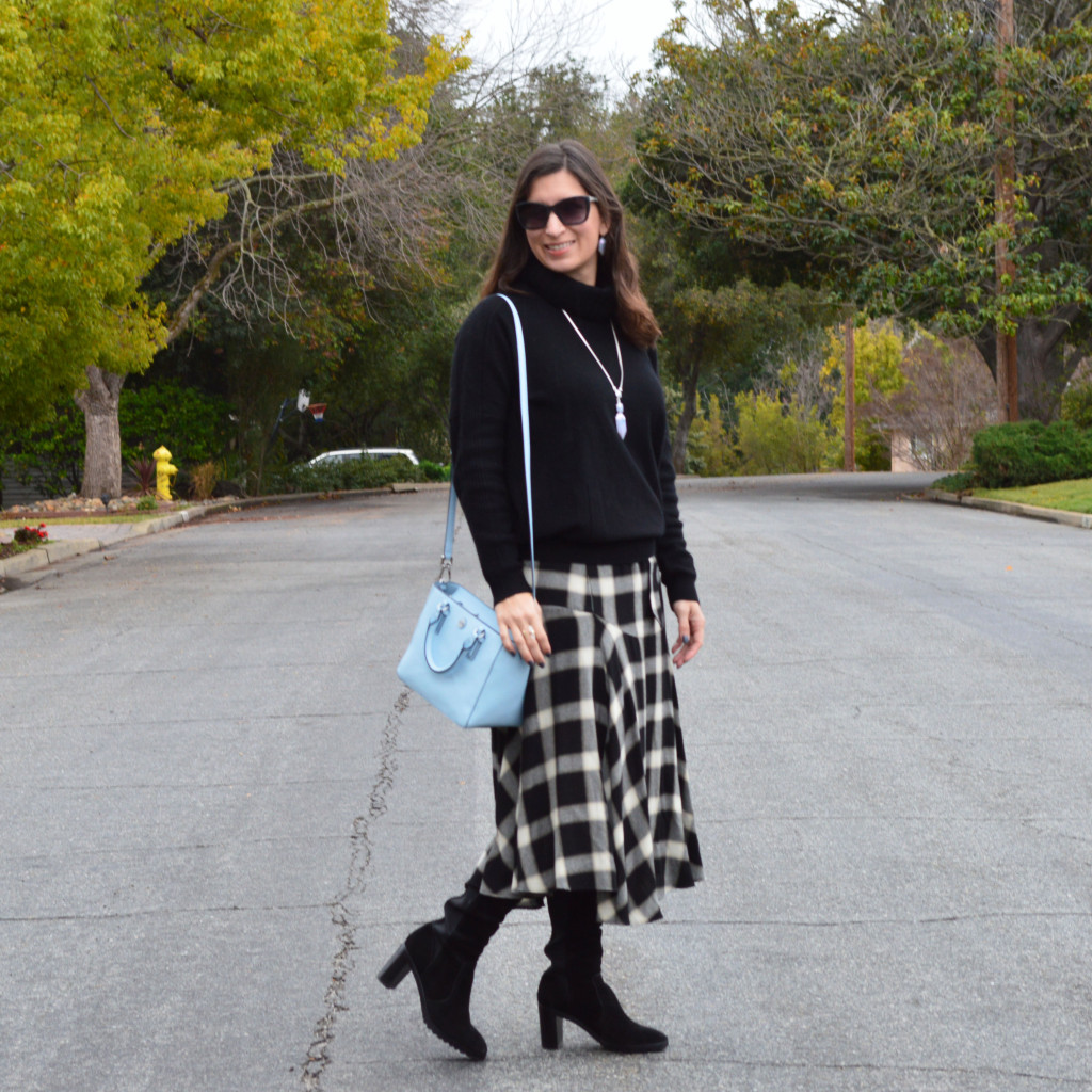 turtleneck sweater with a skirt outfit