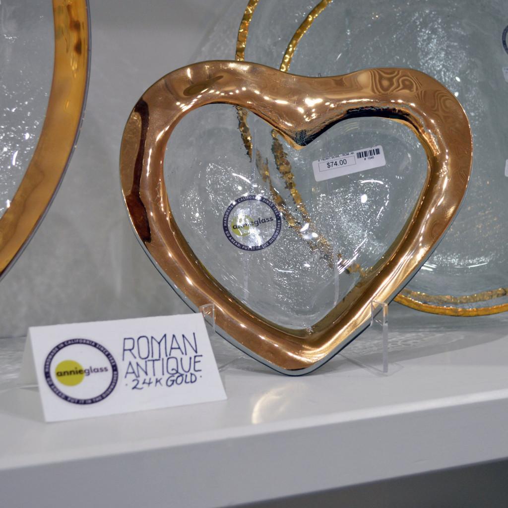 glass heart plates