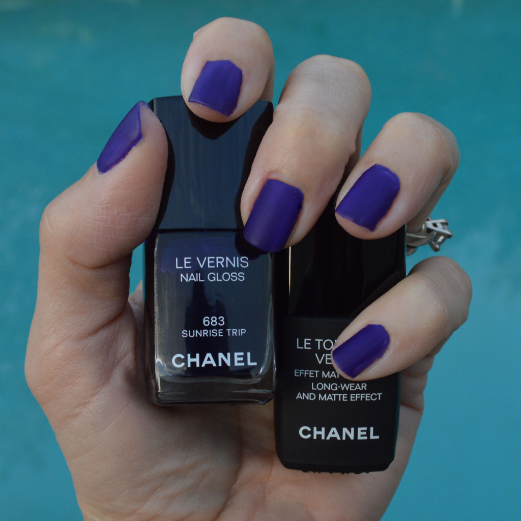 Chanel Le Top Coat Velvet shown over Chanel Sunrise Trip