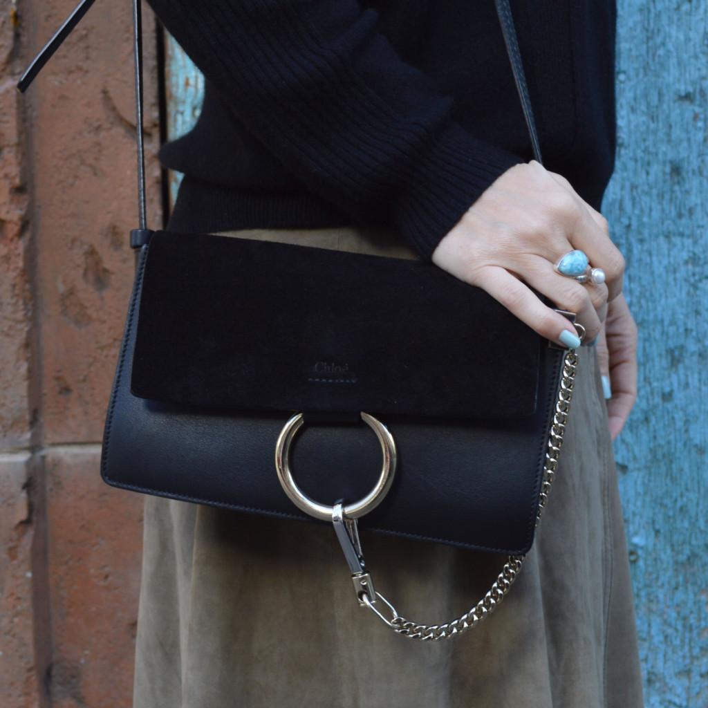 small black chloe faye handbag online