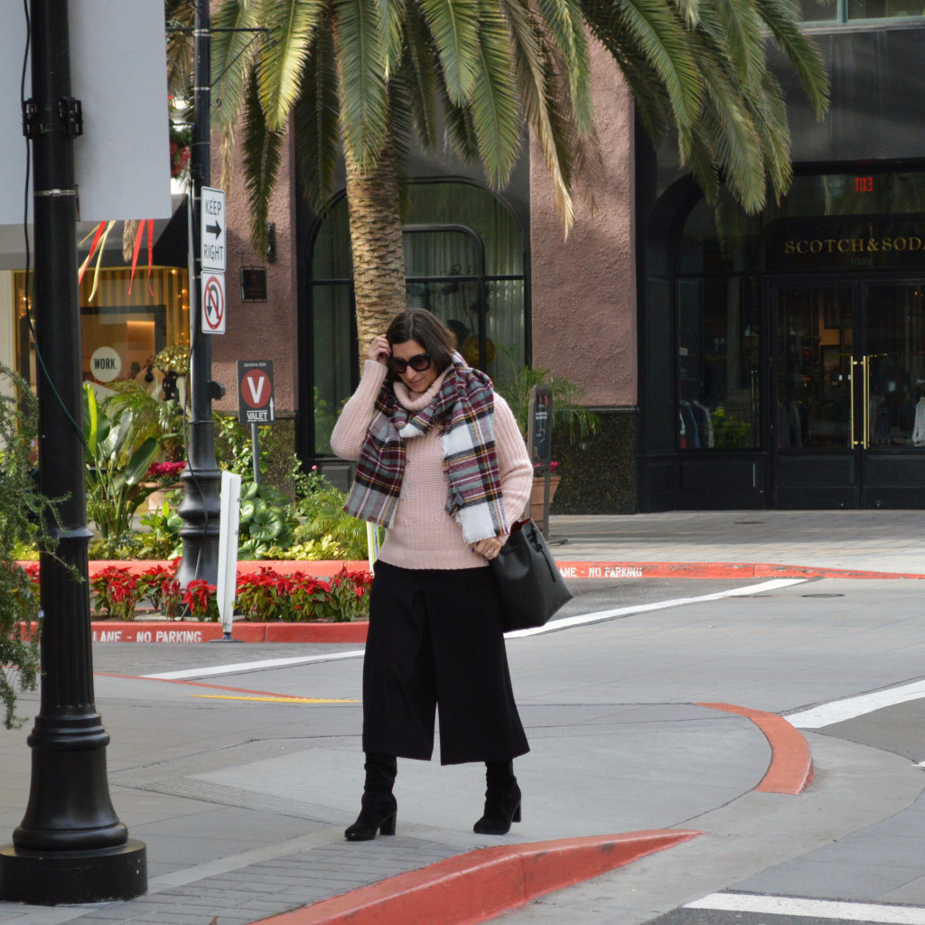 culottes and turtleneck sweater outfit for winter