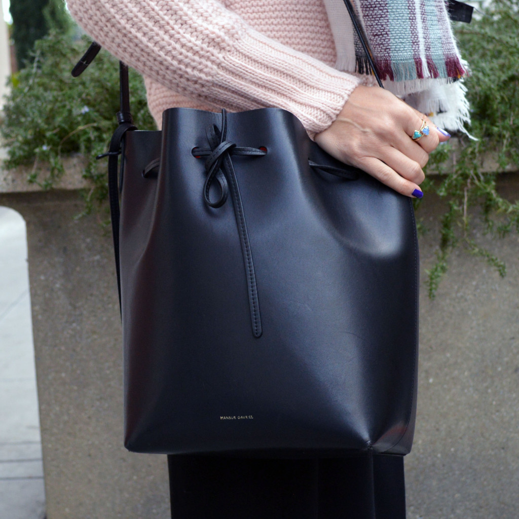 mansur gavriel handbag styled with culottes