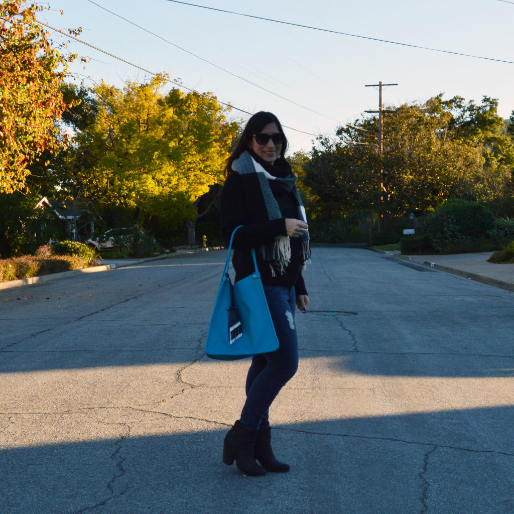 pop of color with black turtleneck sweater