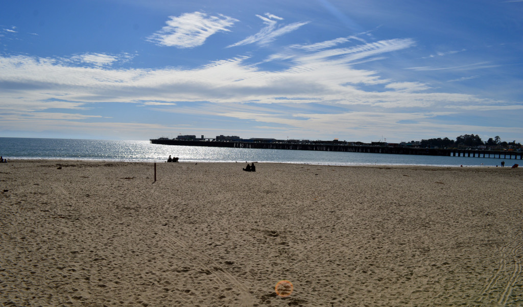 santa cruz beach in winter