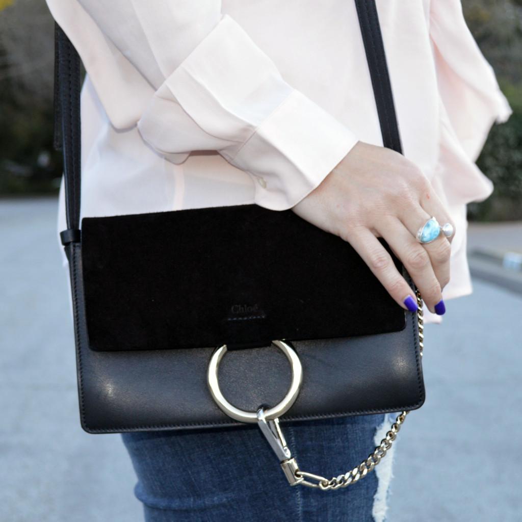 chloe faye shoulder bag in black