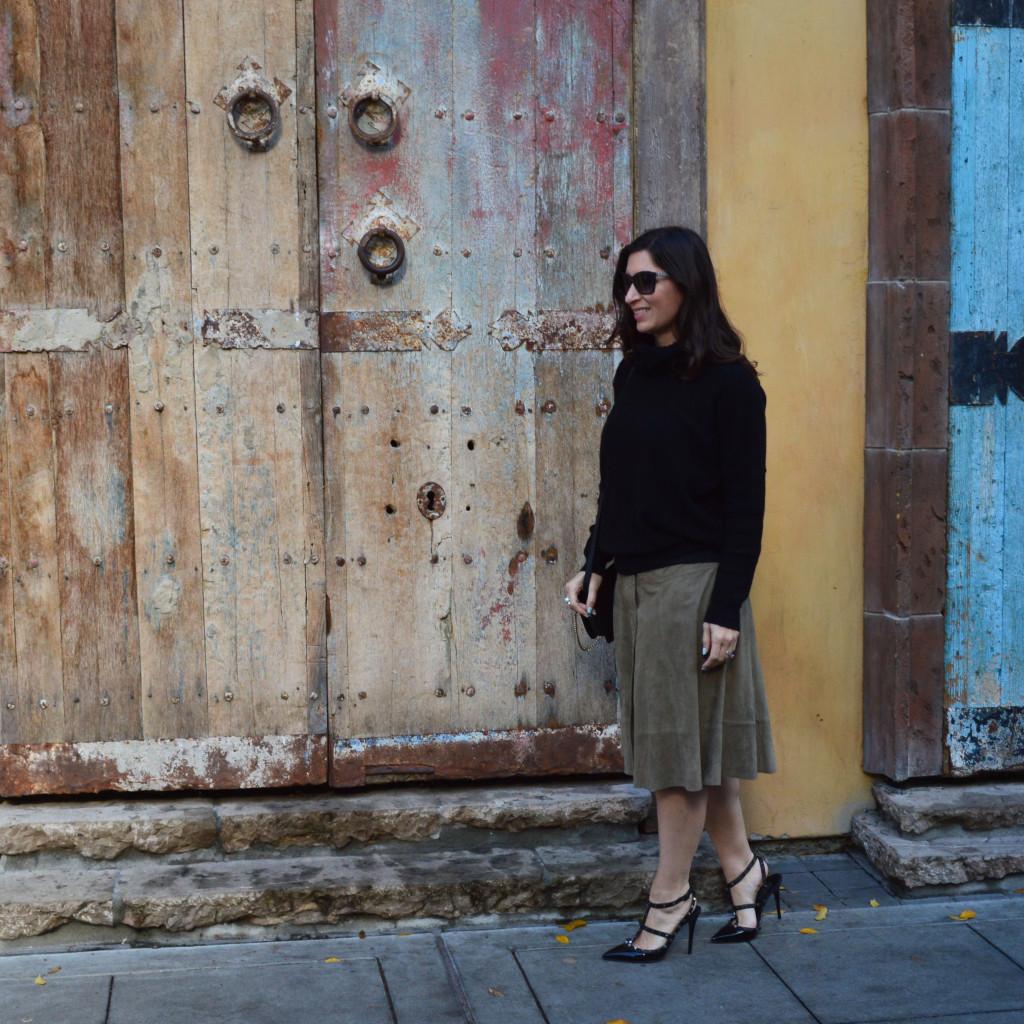 winter suede skirt