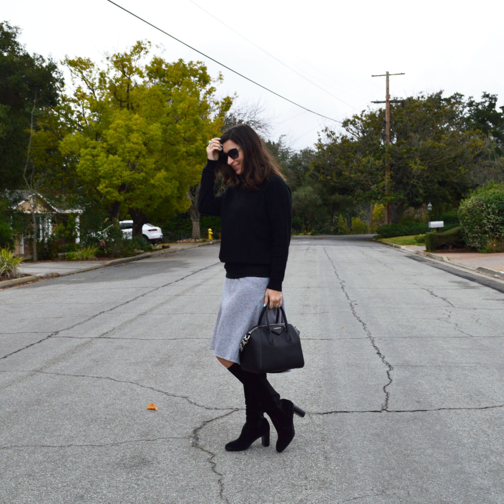 winter outfit with vintage skirt