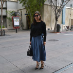 bow tie midi skirt for spring