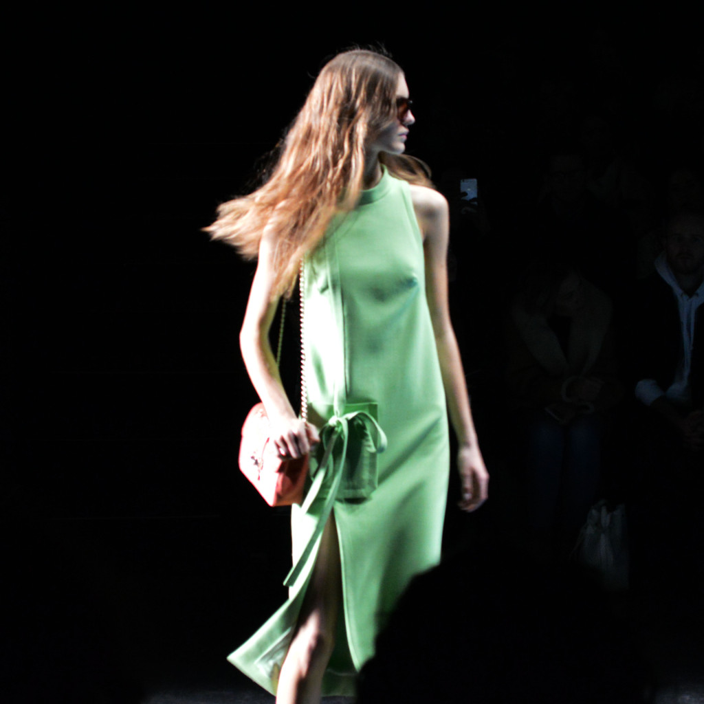 monique lhuillier green dress nyfw fw16
