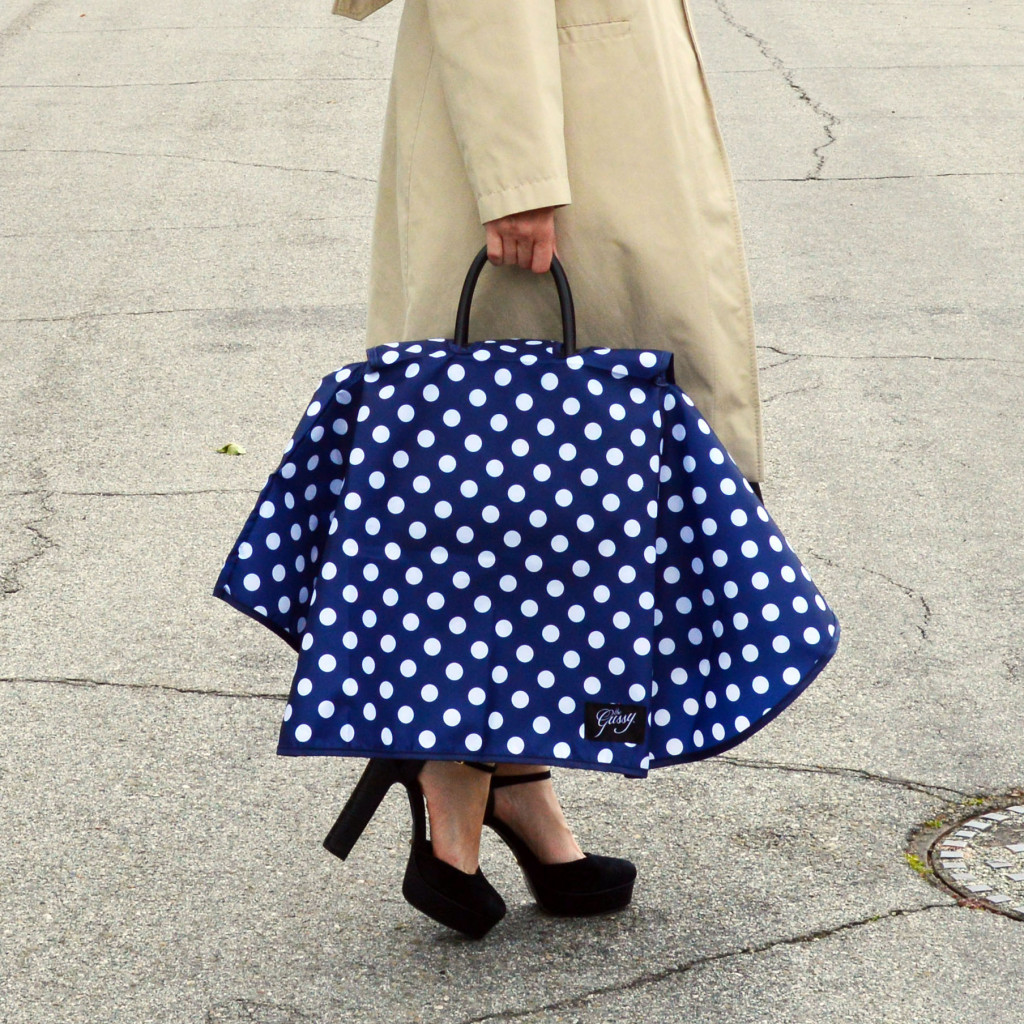 fashionable handbag raincoat