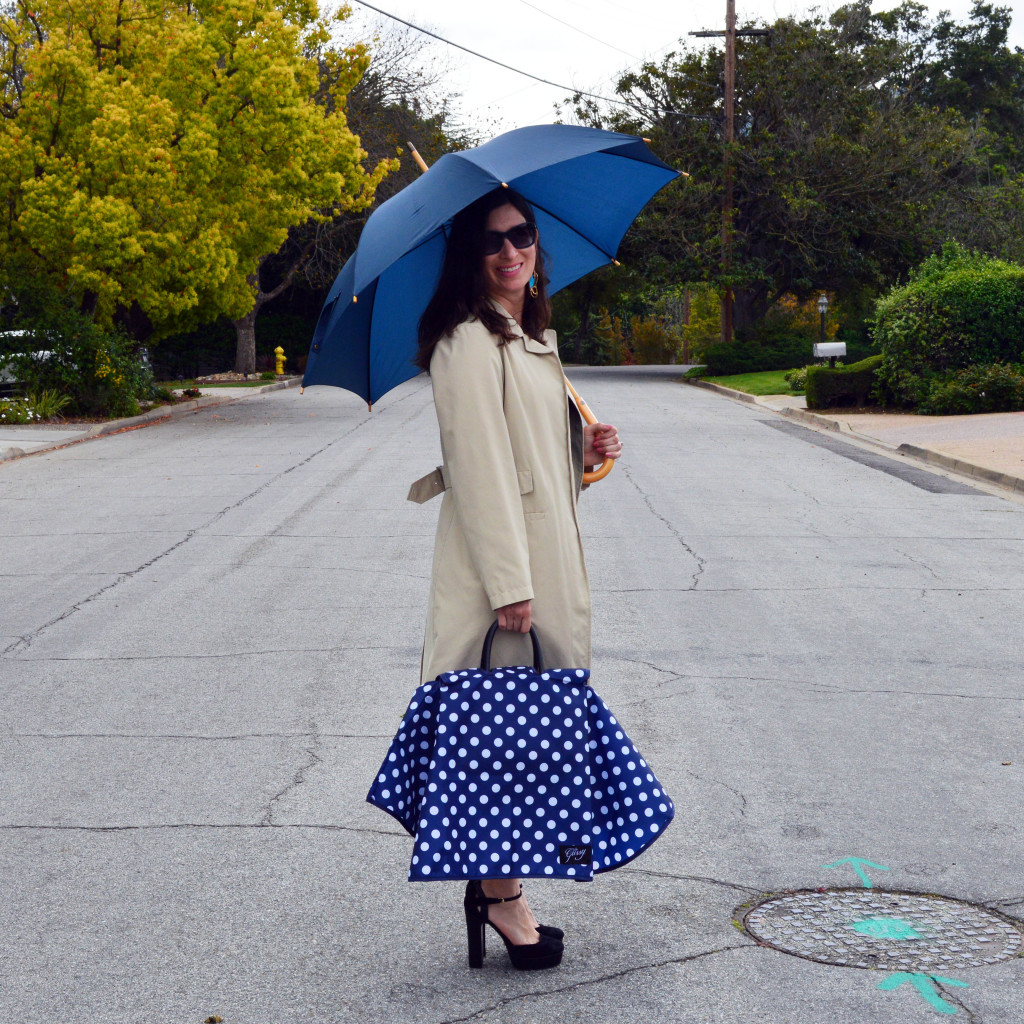 fashionable purse raincoat