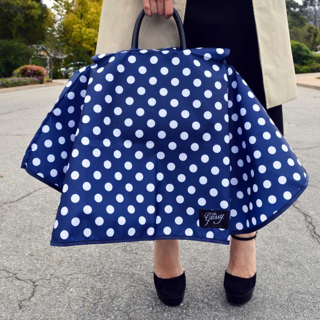 polka dot gussy handbag raincoat