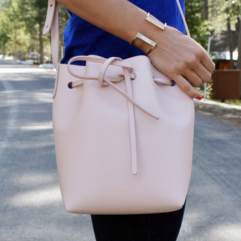mansur gavriel bucket bag in pink