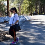 Gym to street outfit hiking in Tahoe