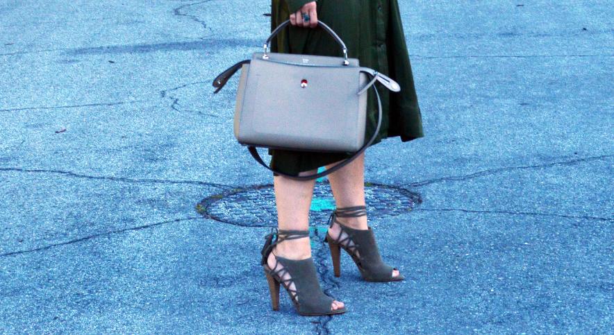 military neutrals handbag and shoes