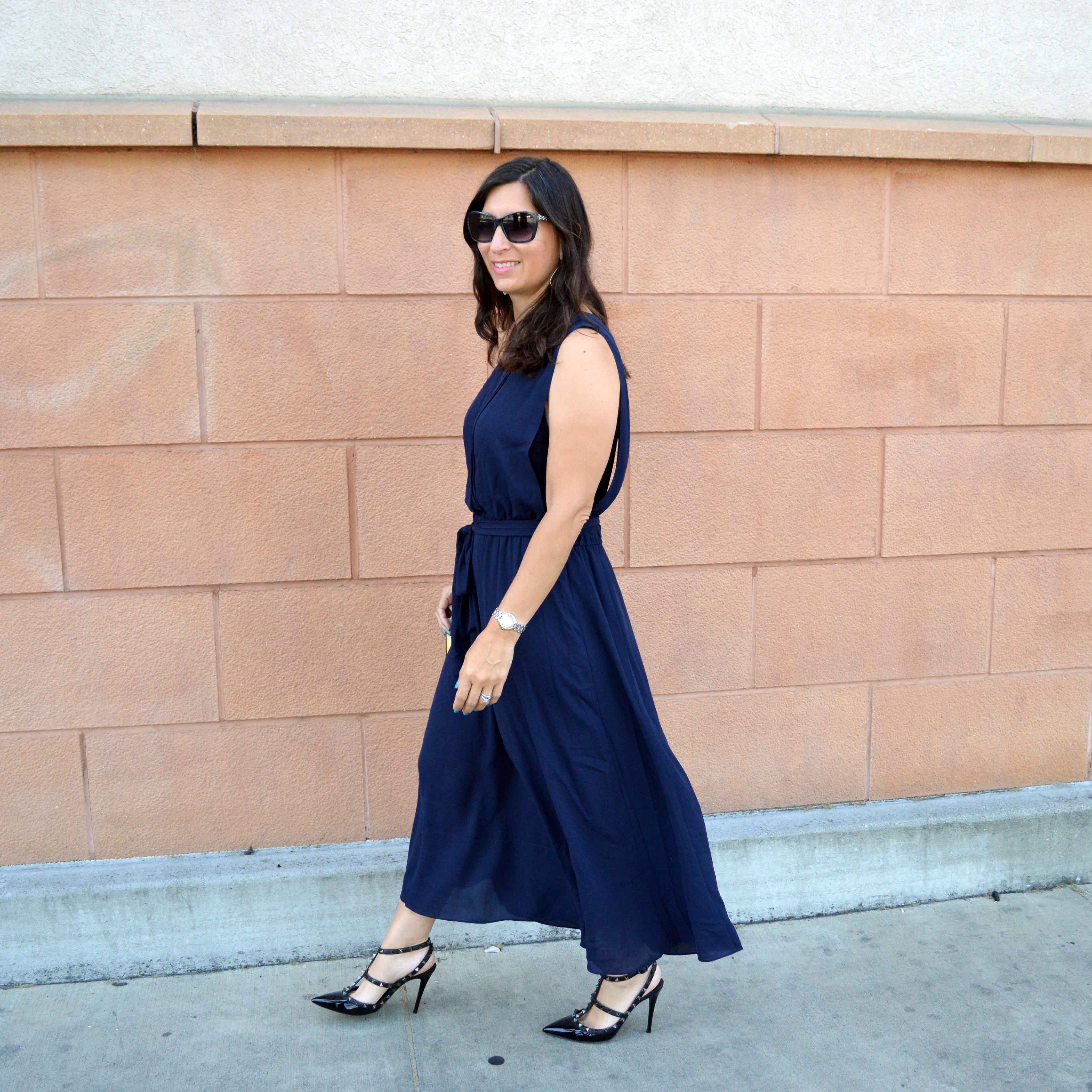 flowing navy dress for summer