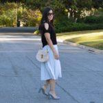 Pale blue pleated skirt