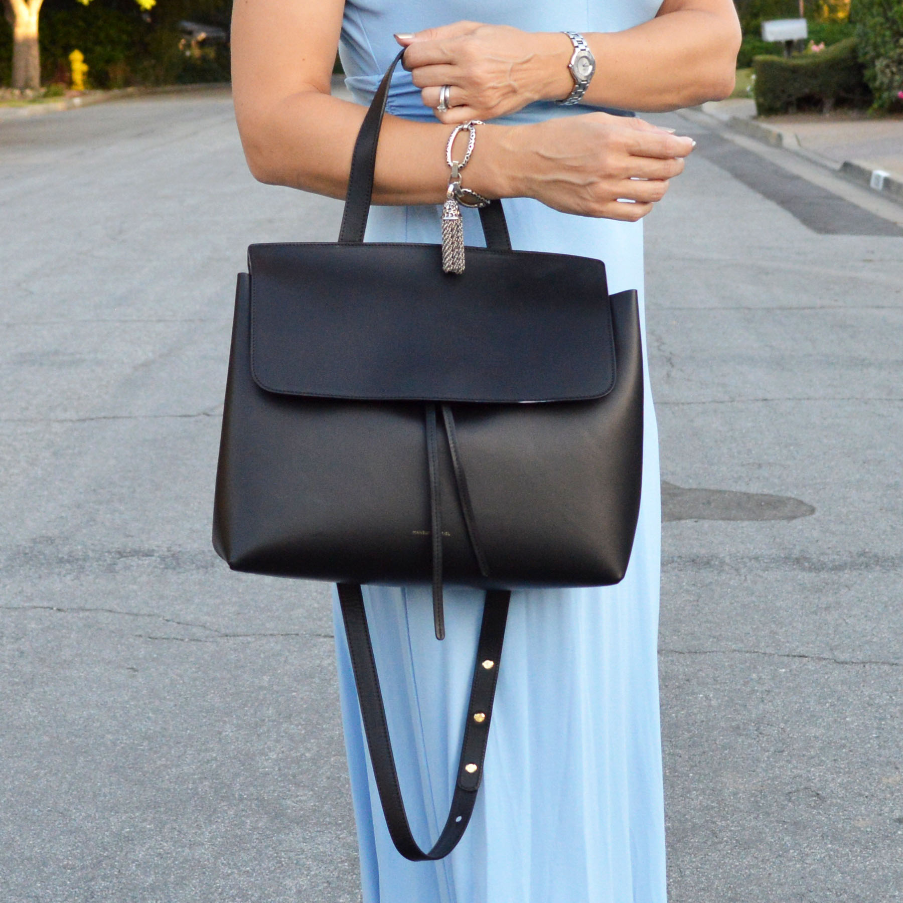 mansur gavriel lady bag with petite maxi dress
