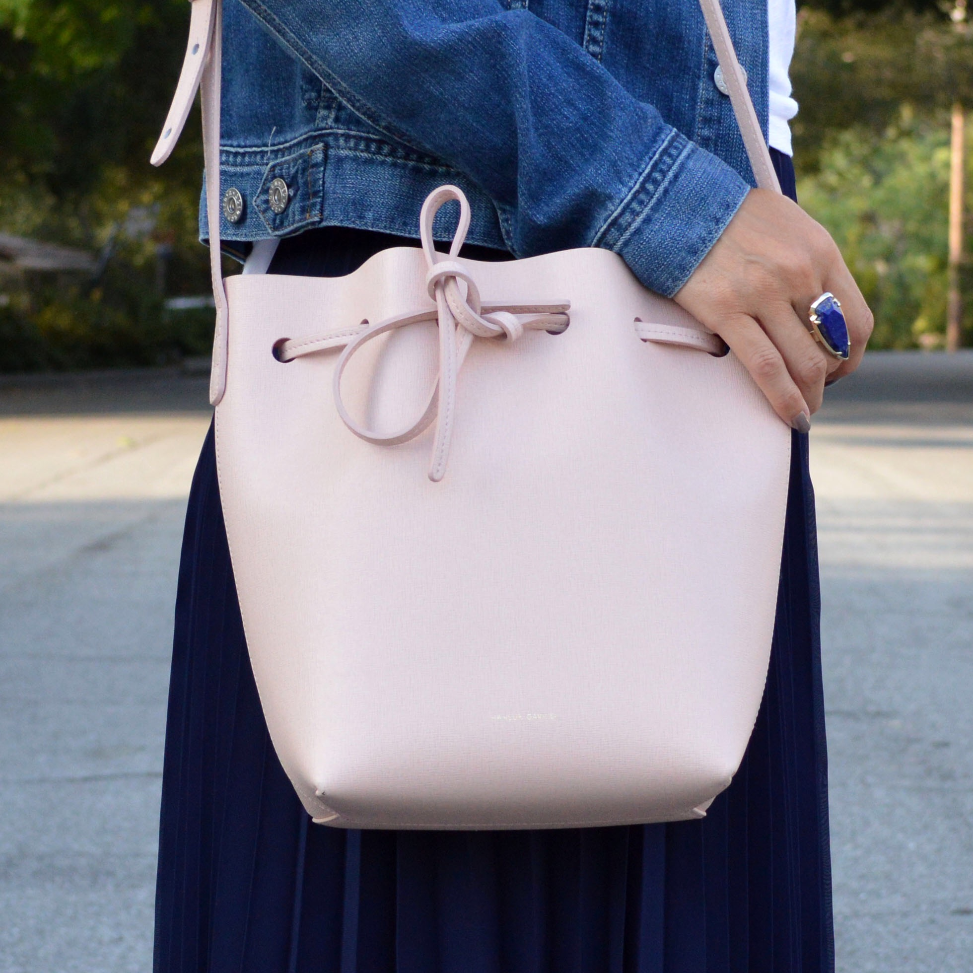 mansur gavriel bucket bag pink