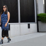 Plaid and lace New York Fashion Week street style