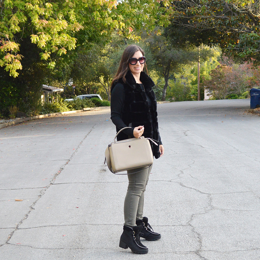 how to wear a faux fur vest for fall and winter
