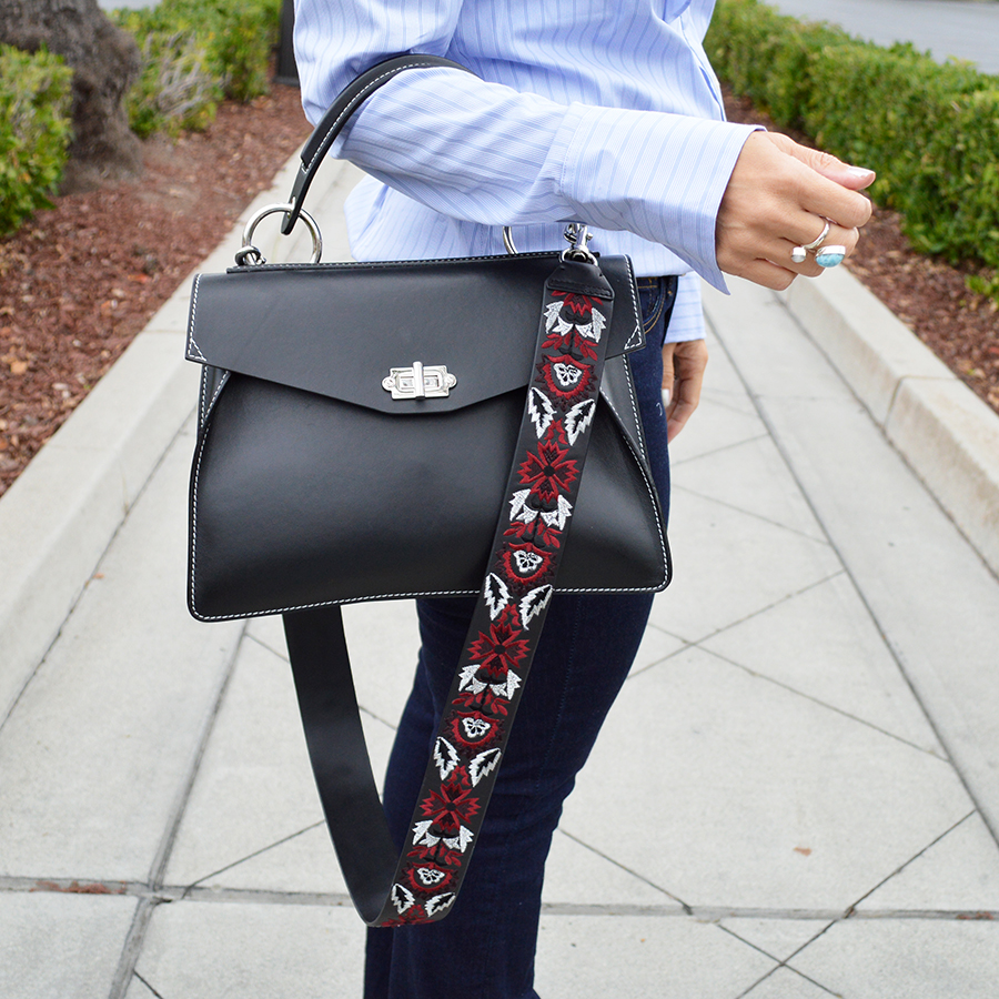 how to wear a guitar strap on handbag fall 2016