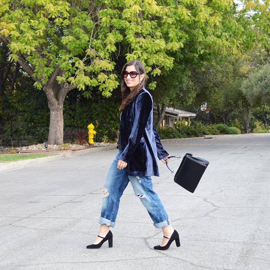 oversize velvet blazer outfit idea