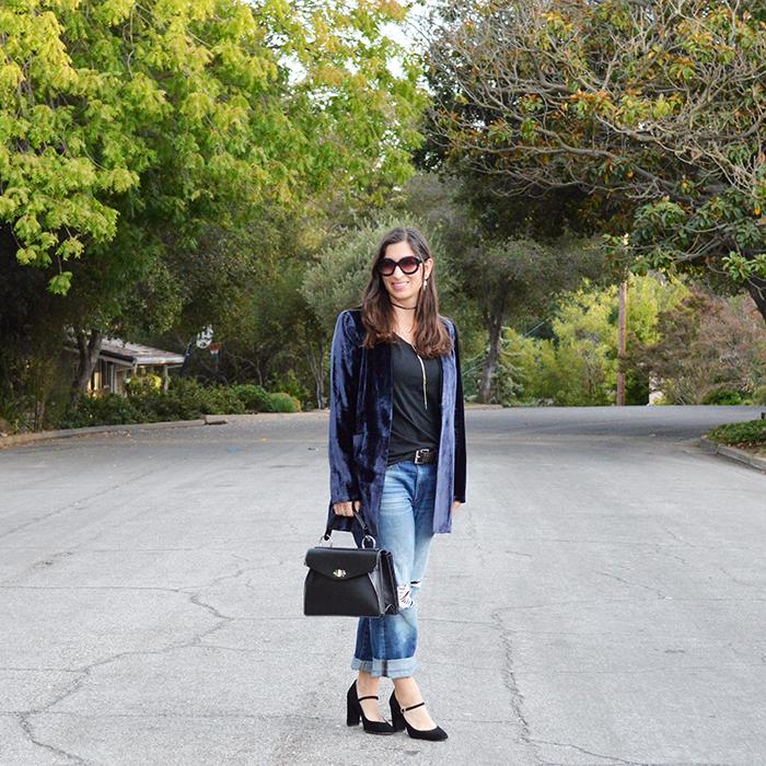 casual outfit idea oversize velvet blazer