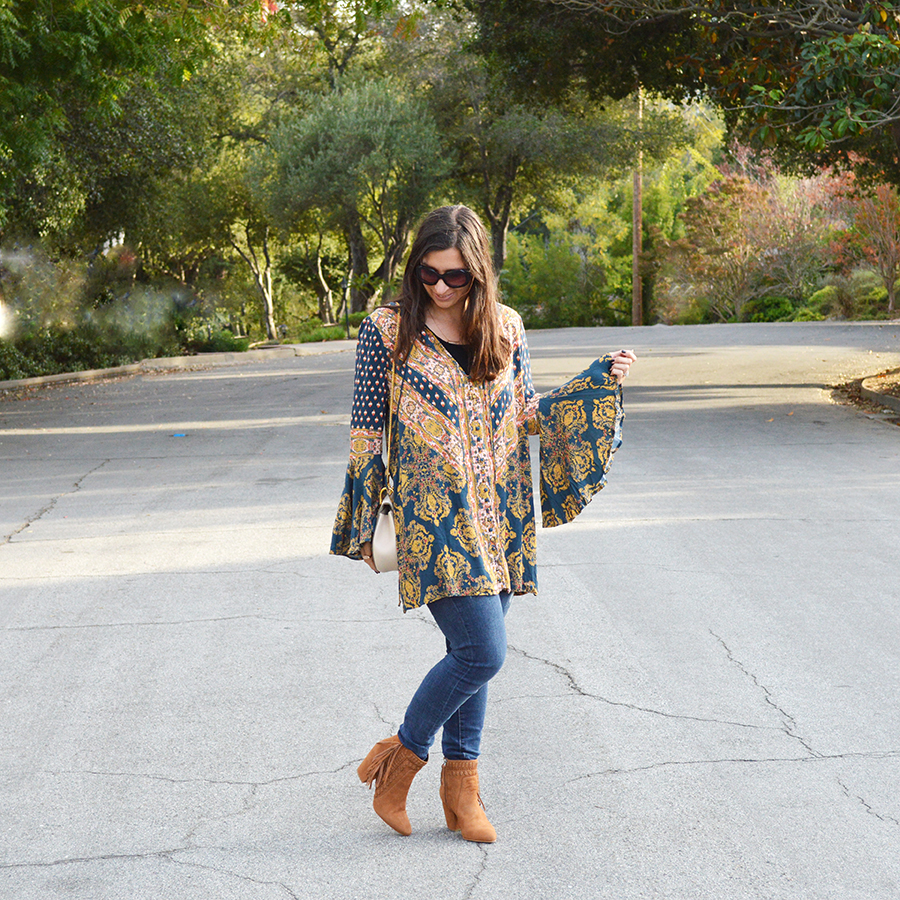 fall bell sleeves outfit idea