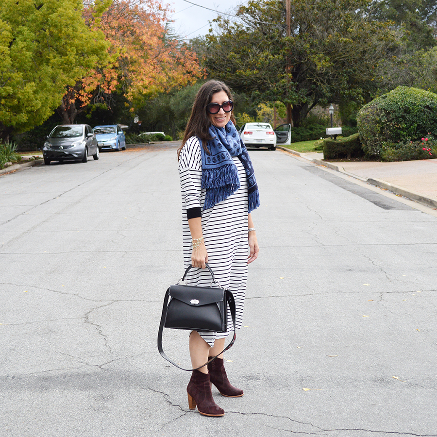 how to wear a striped dress for fall
